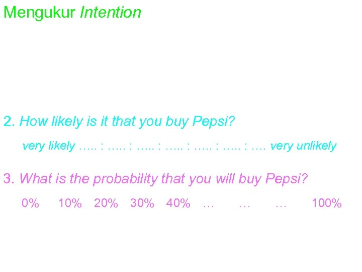Mengukur Intention 1. Do you intend to by Pepsi? definitely intend buy. . :