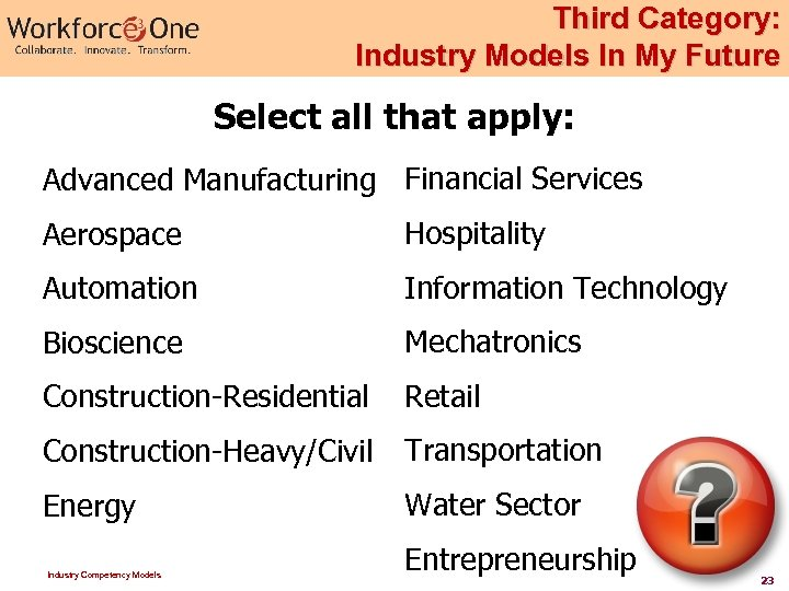 Third Category: Industry Models In My Future Select all that apply: Advanced Manufacturing Financial