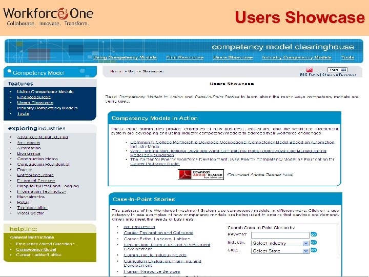 Users Showcase Industry Competency Models 29