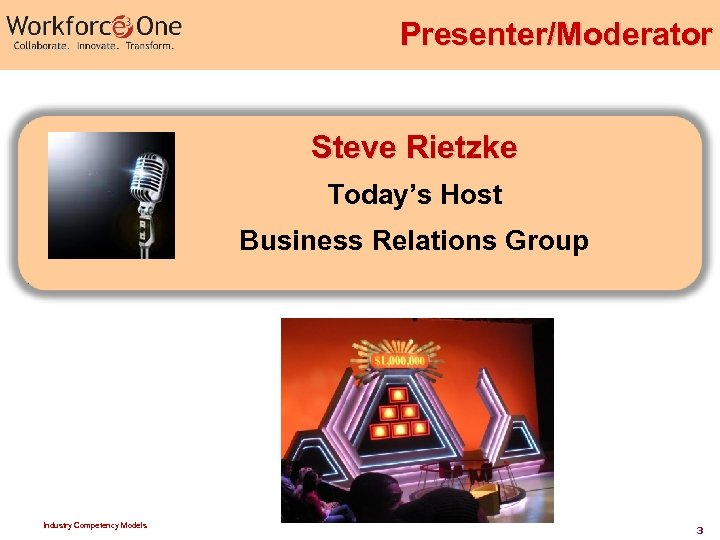 Presenter/Moderator Steve Rietzke Today's Host Business Relations Group Industry Competency Models 3
