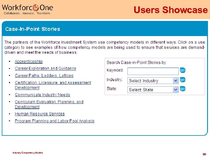 Users Showcase Industry Competency Models 30
