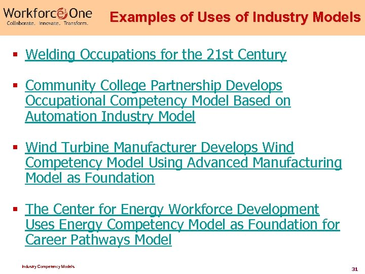 Examples of Uses of Industry Models § Welding Occupations for the 21 st Century