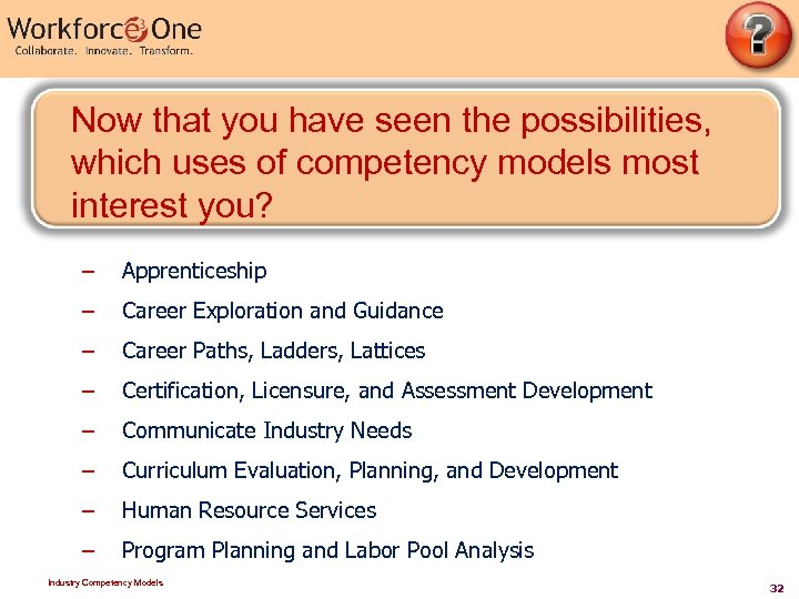 Now that you have seen the possibilities, which uses of competency models most interest