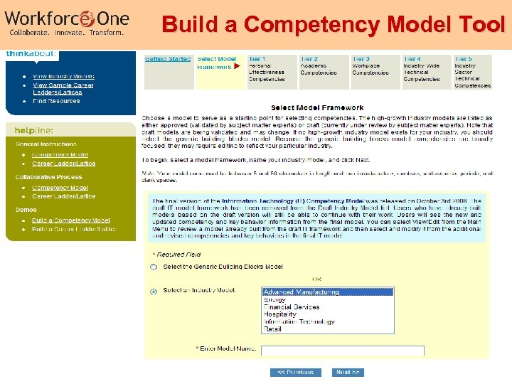 Build a Competency Model Tool Industry Competency Models 34