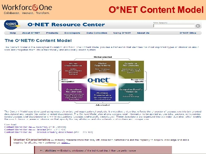 O*NET Content Model Industry Competency Models 40