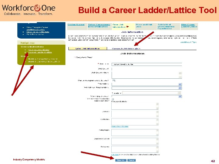 Build a Career Ladder/Lattice Tool Industry Competency Models 42