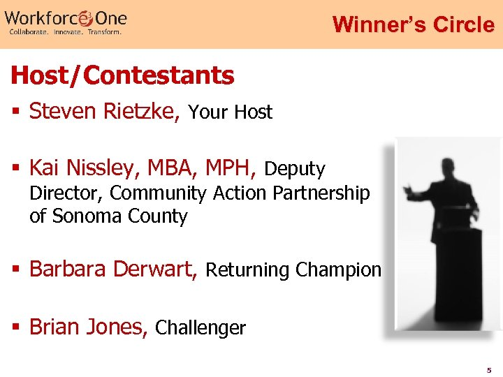 Winner's Circle Host/Contestants § Steven Rietzke, Your Host § Kai Nissley, MBA, MPH, Deputy