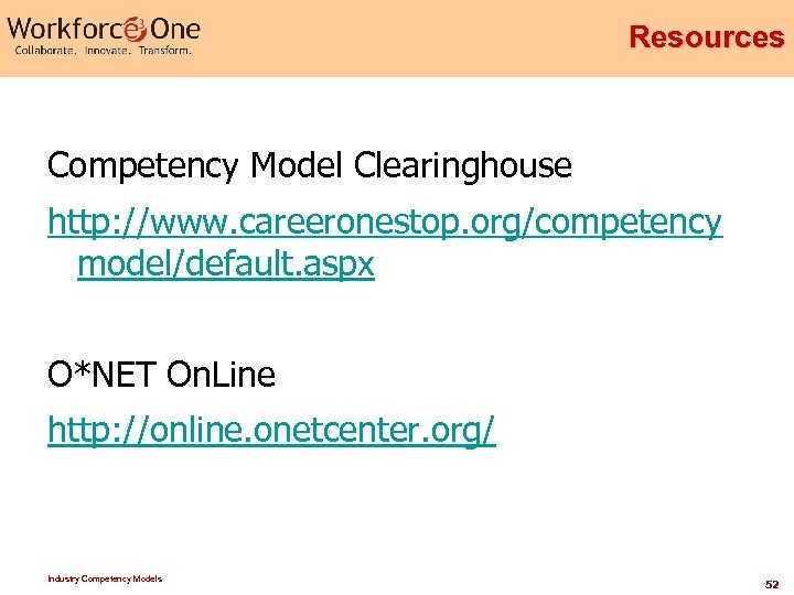Resources Competency Model Clearinghouse http: //www. careeronestop. org/competency model/default. aspx O*NET On. Line http: