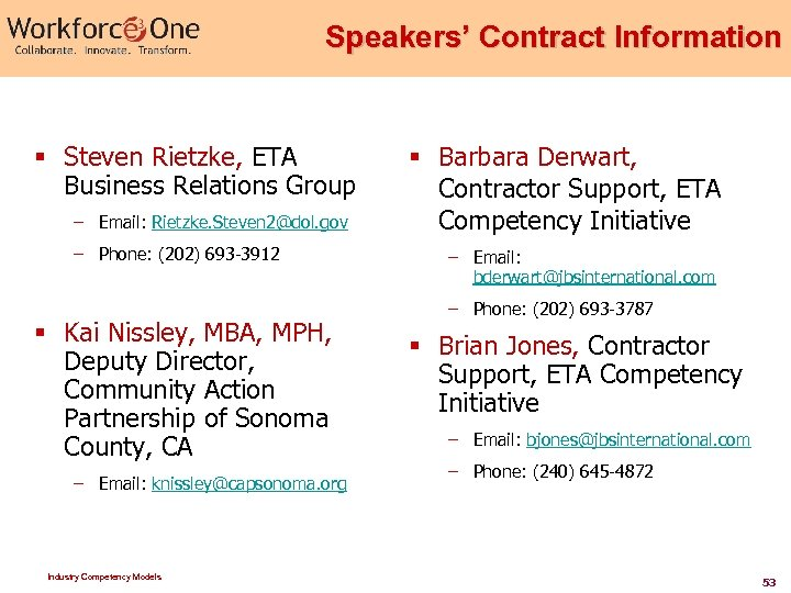 Speakers' Contract Information § Steven Rietzke, ETA Business Relations Group – Email: Rietzke. Steven