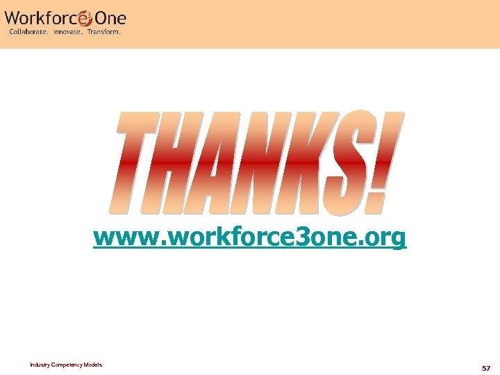 www. workforce 3 one. org Industry Competency Models 57