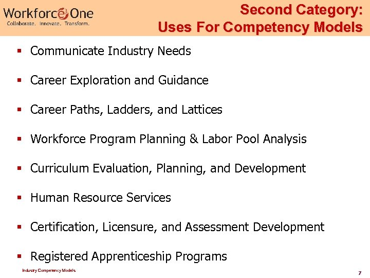 Second Category: Uses For Competency Models § Communicate Industry Needs § Career Exploration and
