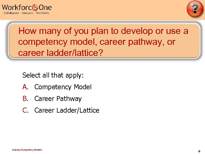 How many of you plan to develop or use a competency model, career pathway,