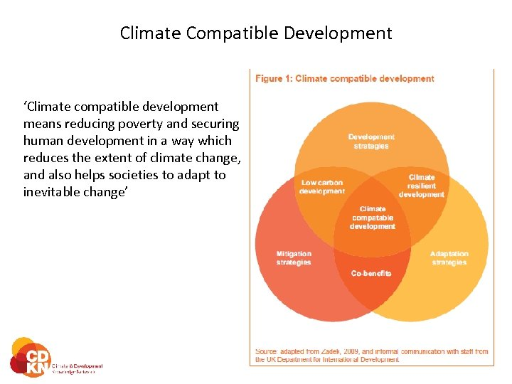 Climate Compatible Development 'Climate compatible development means reducing poverty and securing human development in