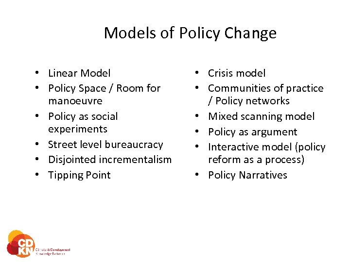 Models of Policy Change • Linear Model • Policy Space / Room for manoeuvre
