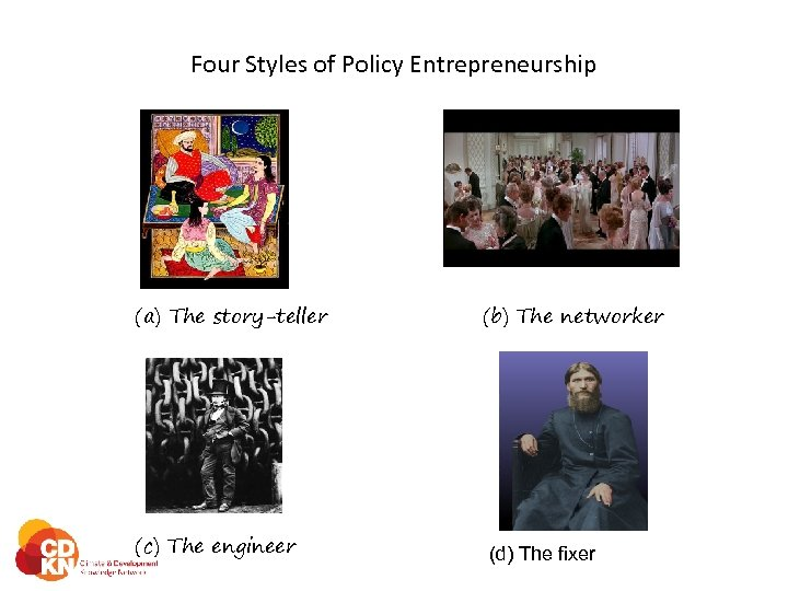 Four Styles of Policy Entrepreneurship (a) The story-teller (c) The engineer (b) The networker