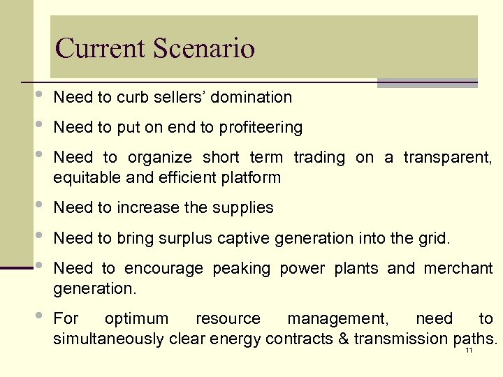 Current Scenario • • • Need to curb sellers' domination • • • Need