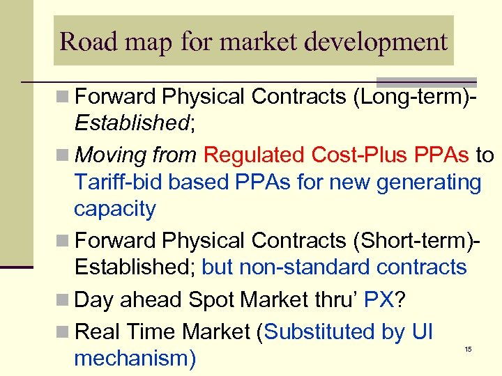 Road map for market development n Forward Physical Contracts (Long-term)- Established; n Moving from