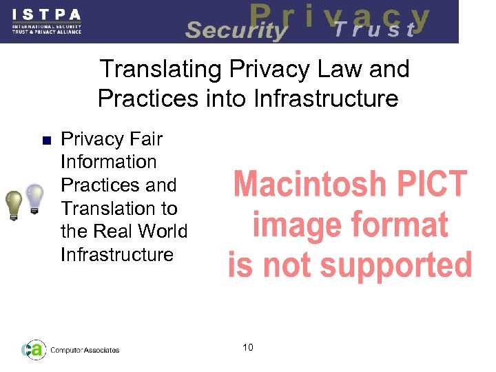 Translating Privacy Law and Practices into Infrastructure n Privacy Fair Information Practices and Translation
