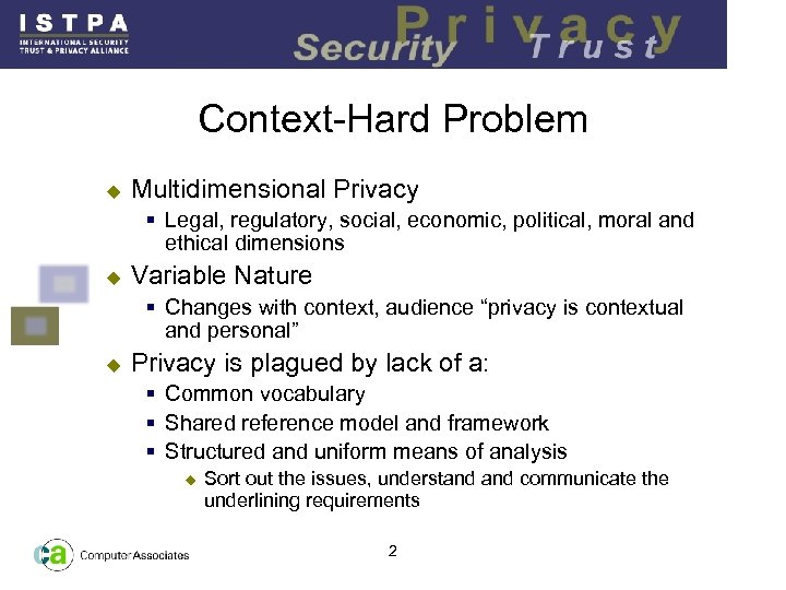 Context-Hard Problem u Multidimensional Privacy § Legal, regulatory, social, economic, political, moral and ethical