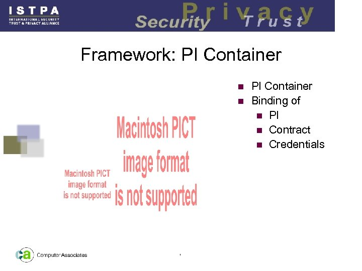 Framework: PI Container n Binding of n PI n Contract n Credentials n 7