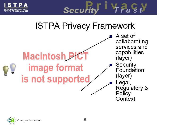 ISTPA Privacy Framework n n n 8 A set of collaborating services and capabilities