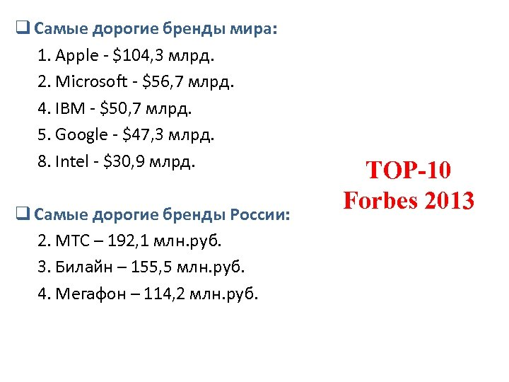 q Самые дорогие бренды мира: 1. Apple - $104, 3 млрд. 2. Microsoft -