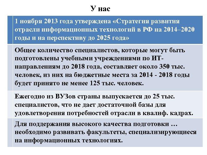 У нас 1 ноября 2013 года утверждена «Стратегия развития отрасли информационных технологий в РФ