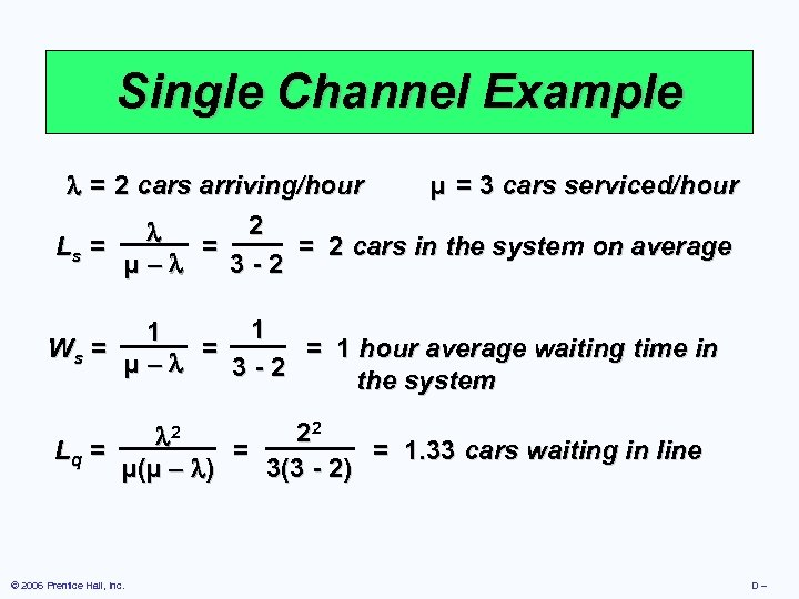 Single Channel Example = 2 cars arriving/hour µ = 3 cars serviced/hour 2 Ls