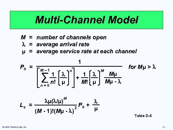 Multi-Channel Model M µ = = = P 0 = number of channels open
