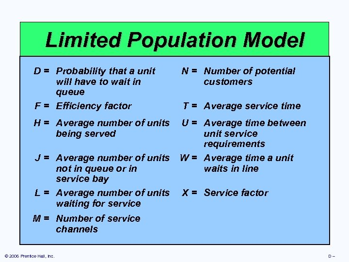 Limited Population Model D = Probability that a unit N = Number of potential
