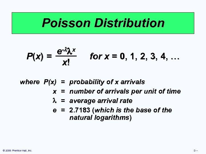 Poisson Distribution e - x P (x ) = x! where P(x) x e