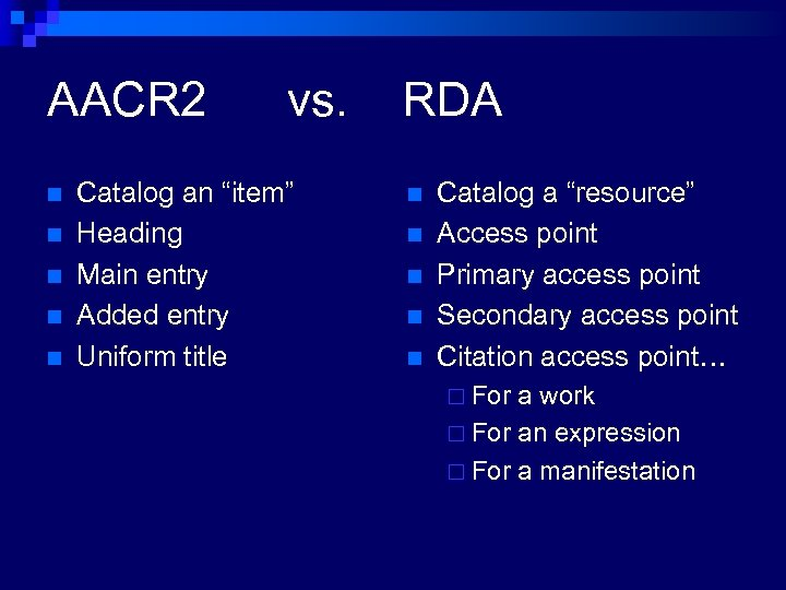 "AACR 2 n n n vs. Catalog an ""item"" Heading Main entry Added entry"