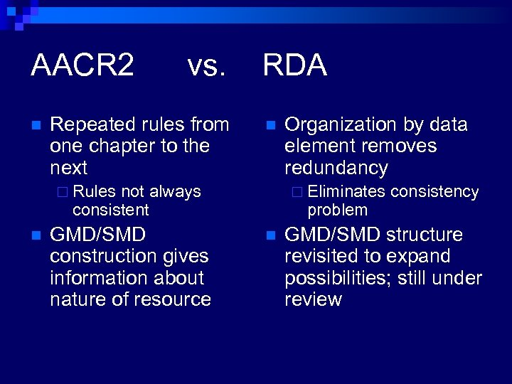 AACR 2 n vs. Repeated rules from one chapter to the next RDA n