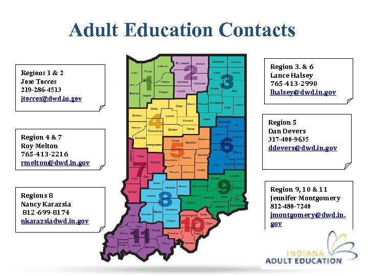 Adult Education Contacts Regions 1 & 2 Jose Torres 219 -286 -4513 jtorres@dwd. in.