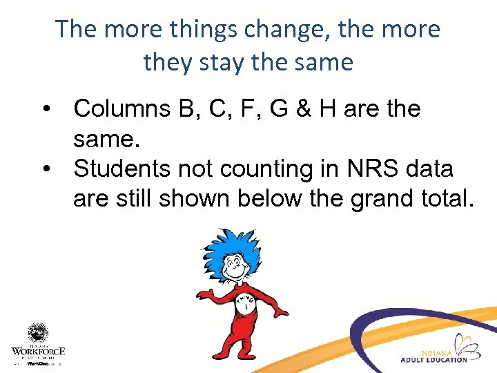 The more things change, the more they stay the same • Columns B, C,