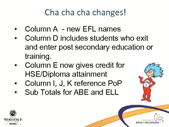Cha cha changes! • • • Column A - new EFL names Column D