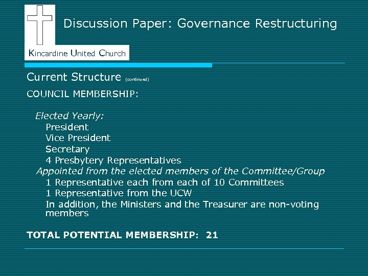 Discussion Paper: Governance Restructuring Kincardine United Church Current Structure (continued) COUNCIL MEMBERSHIP: Elected Yearly: