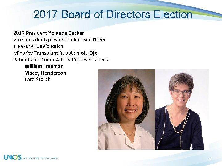 2017 Board of Directors Election 2017 President Yolanda Becker Vice president/president-elect Sue Dunn Treasurer