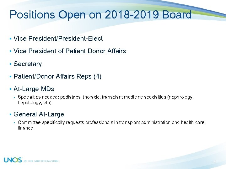 Positions Open on 2018 -2019 Board § Vice President/President-Elect § Vice President of Patient