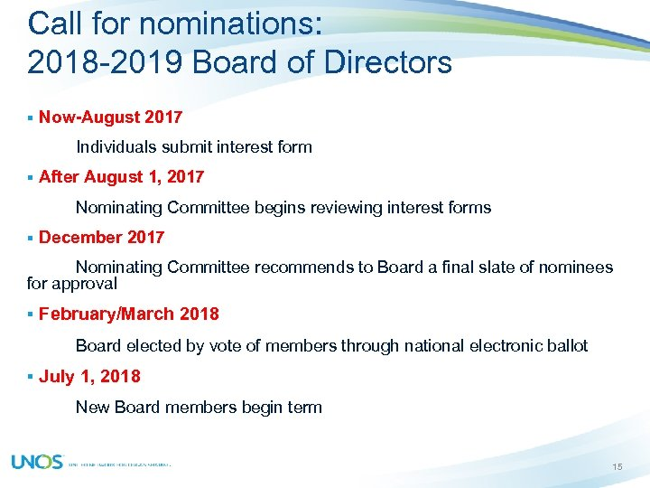 Call for nominations: 2018 -2019 Board of Directors § Now-August 2017 Individuals submit interest