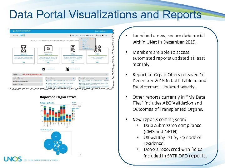 Data Portal Visualizations and Reports • • Members are able to access automated reports