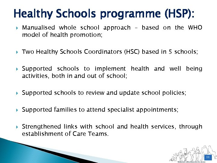 Healthy Schools programme (HSP): Manualised whole school approach – based on the WHO model