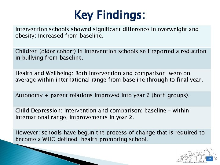 Key Findings: Intervention schools showed significant difference in overweight and obesity: Increased from baseline.