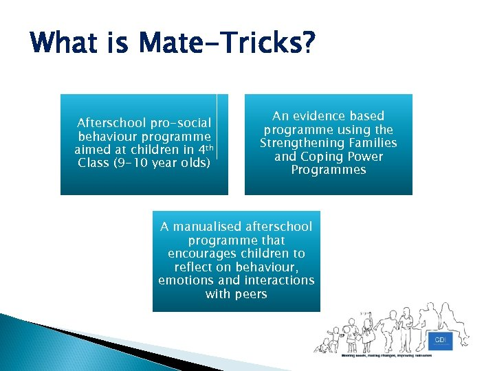 What is Mate-Tricks? Afterschool pro-social behaviour programme aimed at children in 4 th Class