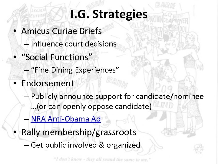 """I. G. Strategies • Amicus Curiae Briefs – Influence court decisions • """"Social Functions"""""""