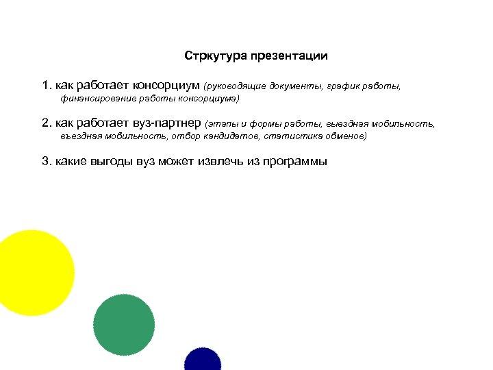 Стркутура презентации 1. как работает консорциум (руководящие документы, график работы, финансирование работы консорциума) 2.