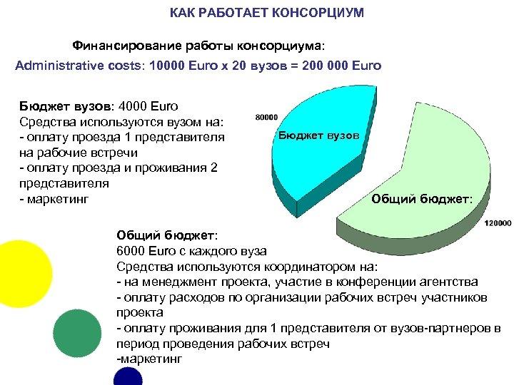 КАК РАБОТАЕТ КОНСОРЦИУМ Финансирование работы консорциума: Administrative costs: 10000 Euro x 20 вузов =