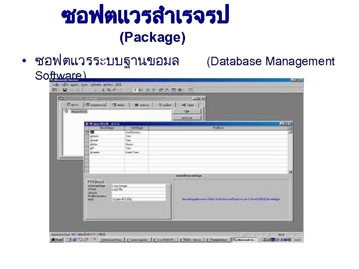 ซอฟตแวรสำเรจรป (Package) • ซอฟตแวรระบบฐานขอมล Software) (Database Management