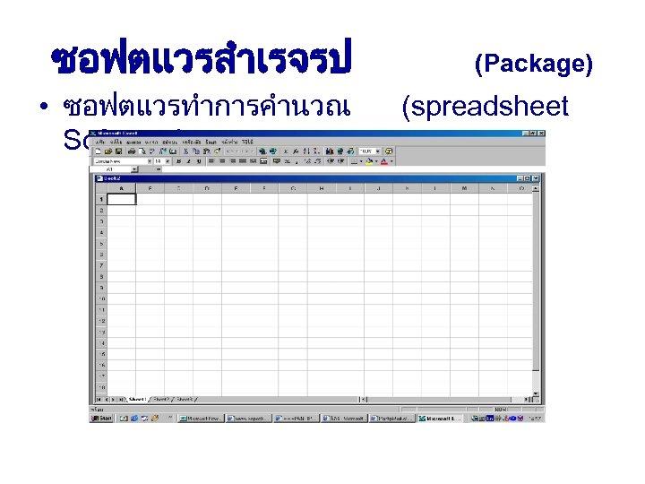 ซอฟตแวรสำเรจรป • ซอฟตแวรทำการคำนวณ Software) (Package) (spreadsheet