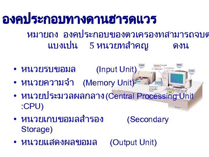 องคประกอบทางดานฮารดแวร หมายถง องคประกอบของตวเครองทสามารถจบต แบงเปน 5 หนวยทสำคญ ดงน • หนวยรบขอมล (Input Unit) • หนวยความจำ (Memory